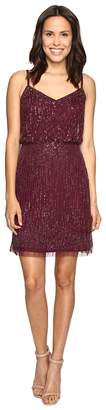 Adrianna Papell Spaghetti Strap Cocktail Dress w/ Fringe Women's Dress