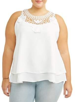 Lifestyle Attitude Women's Plus Size Embroidered Swing Tank