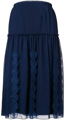 See by Chloe lace-embroidered midi skirt