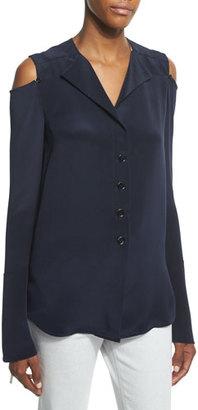 Derek Lam Cold-Shoulder Button-Front Blouse, Navy $1,195 thestylecure.com