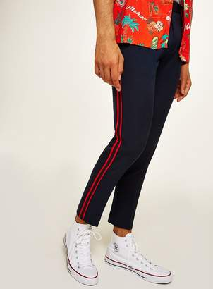 Topman Navy Skinny Cropped Smart Trousers With Side Taping