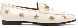 Gucci New Jordaan Embroidered Leather Loafers - Womens - White Gold