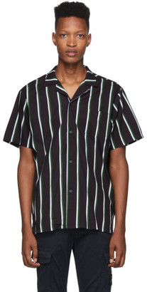 Bather Black and Green Striped Camp Shirt