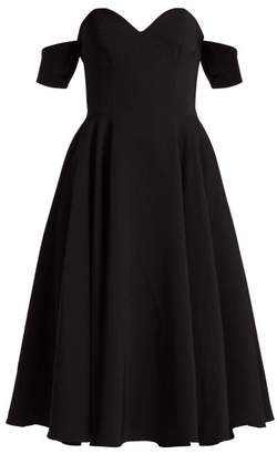 Sara Battaglia Off The Shoulder Crepe Dress - Womens - Black