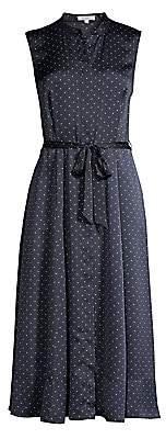 Equipment Women's Clevete Sleeveless Polka Dot Tie Waist A-Line Shirtdress - Size 0