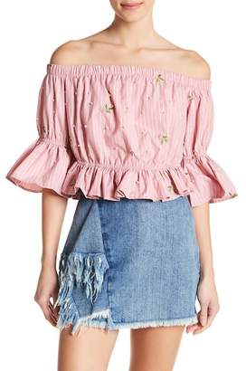 Romeo & Juliet Couture Off-the-Shoulder Faux Pearl & Embroidered Blouse