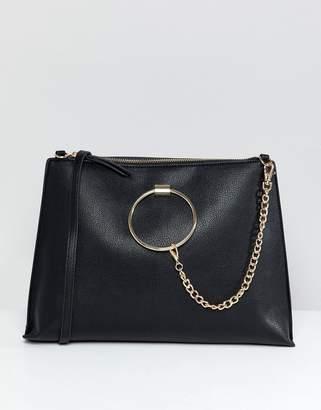 Aldo Croc Oversized Clutch Bag With Chain Detail