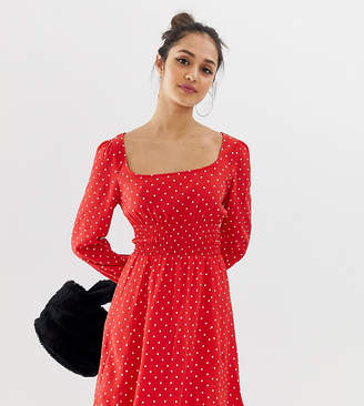 Bershka polka dot dress in red