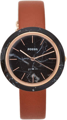 Fossil ES4382 Rose Gold-Tone & Brown Watch