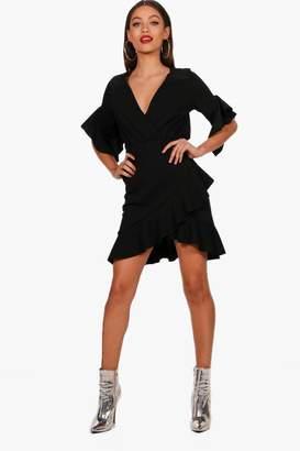 boohoo Giselle Wrap Front Scuba Crepe Tea Dress
