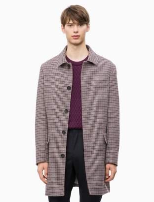 Calvin Klein Wool Blend Check Coat
