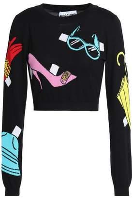 Moschino Cropped Intarsia Cotton Sweater