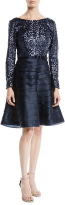 Roland Nivelais Boat-Neck Long-Sleeve Sequin-Top Tiered Organza Cocktail Dress