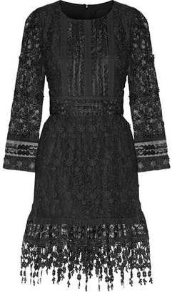 Anna Sui Ruffled Floral-Appliquéd Tulle And Faux Leather-Appliquéd Organza Mini Dress