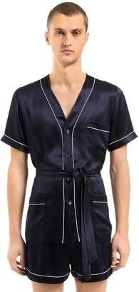 Silk Satin Pajama Shirt & Shorts