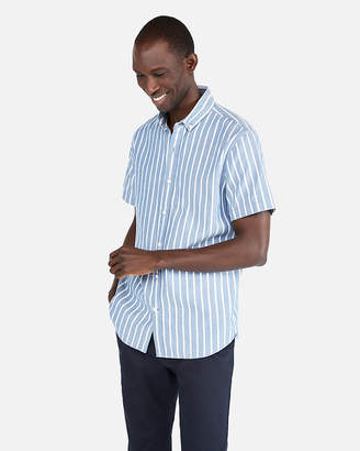 Express Slim Stripe Button Down Short Sleeve Shirt