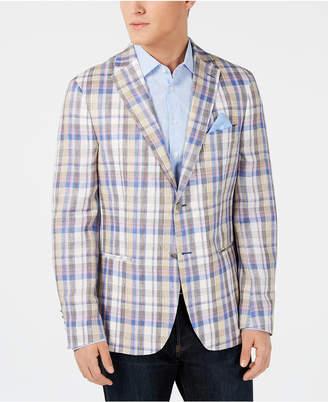 Tallia Men Slim-Fit Tan/Blue Madras Plaid Linen Sport Coat
