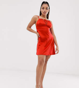 Missguided Petite Exclusive satin cami slip dress in red