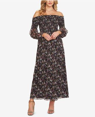 CeCe Smocked Off-The-Shoulder Maxi Dress