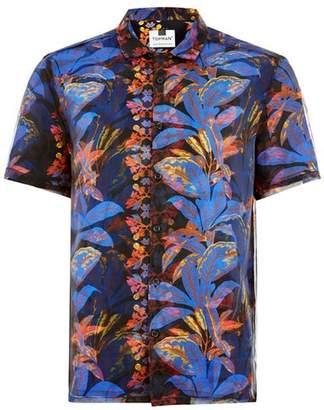 Topman Mens Black And Blue Floral Short Sleeve Shirt
