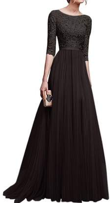 IBTOM CASTLE Women's Tulle Floral Lace Bridesmaid Long Dress Prom Evening Cocktail 3/4 Sleeves Floor Length Retro Vintage Formal Maxi Gowns M