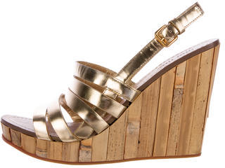 Miu Miu Miu Miu Metallic Wedge Sandals