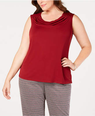 Nine West Plus Size Drape-Neck Shell