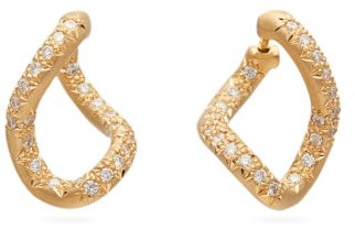 hum Diamond And 18kt Gold Twist Earrings - Womens - Gold