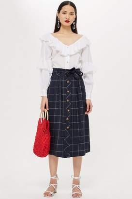 Topshop Linen Check Midi Skirt