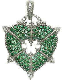 Judith Ripka Sterling and Green Diamonique Heart Enhancer