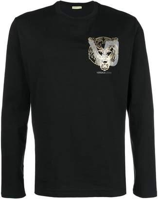 Versace metallic printed logo long sleeve T-shirt