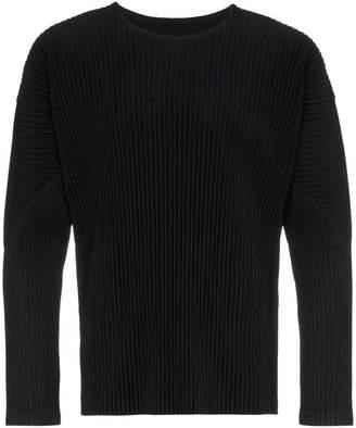 Issey Miyake Homme Plissé black long sleeve pleated tshirt