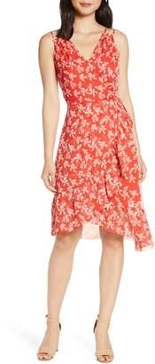 Adelyn Rae Tessie Floral Print Asymmetrical Chiffon Dress