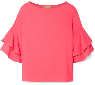 Michael Kors Ruffled Silk-georgette Blouse - Bubblegum