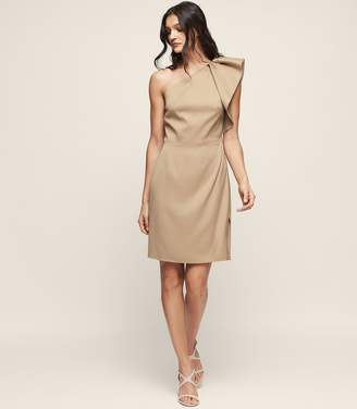 Reiss SELIKA ONE-SHOULDER COCKTAIL DRESS TRUE CAMEL