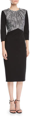 Jason Wu Jewel-Neck 3/4-Sleeve Colorblock Ponte Midi Sheath Dress