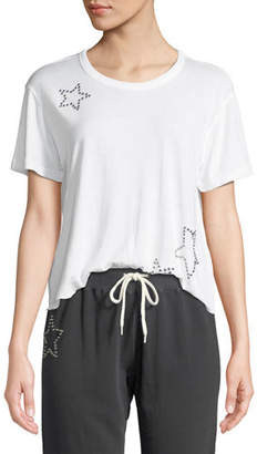 Monrow Studded Scoop-Neck Star Activewear Tee