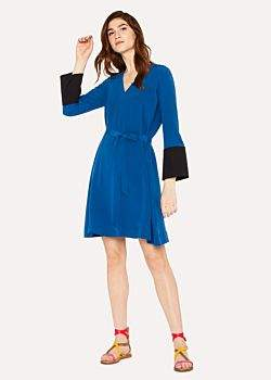 Paul Smith Women's Petrol Blue V-Neck Dress With Contrasting Cuffs