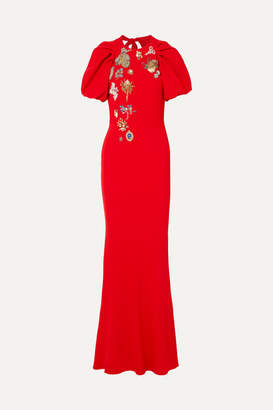 Alexander McQueen Crystal-embellished Crepe Gown - Red