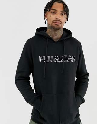 Pull&Bear logo hoodie in black