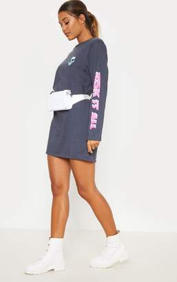 PrettyLittleThing Charcoal Be Bold Oversized Long Sleeve T Shirt Dress