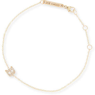 Chicco Zoe 14k Pave Diamond Single-Initial Bracelet