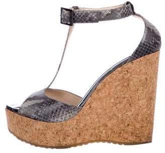 Jimmy Choo Embossed Wedge Sandals