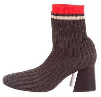 Celine Rib Knit Square-Toe Ankle Boots