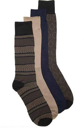 Perry Ellis Luxury Microfiber Stripe Crew Socks - 4 Pack - Men's
