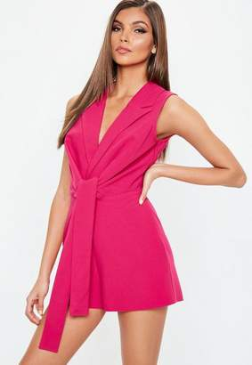 Missguided Sleeveless Tie Front Playsuit
