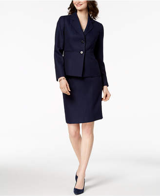 Le Suit Textured Two-Button Skirt Suit