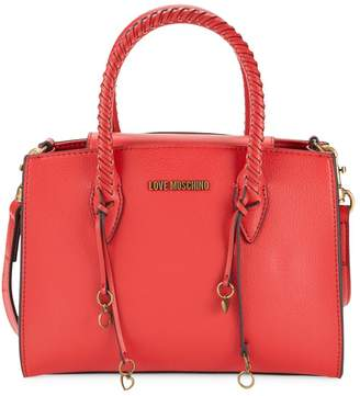 Love Moschino Whipstitch-Trim Faux Leather Crossbody Bag