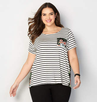 Avenue Striped Floral Tee