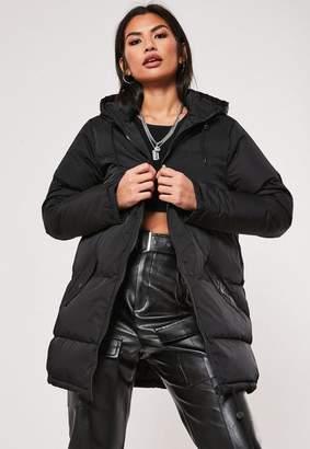 Missguided Black Longline Hooded Puffer Coat
